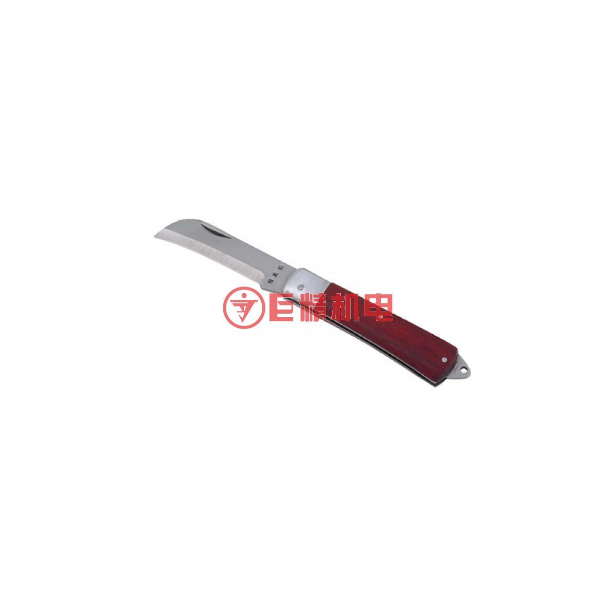 力易得 弯刃木柄电工刀80mm E7022