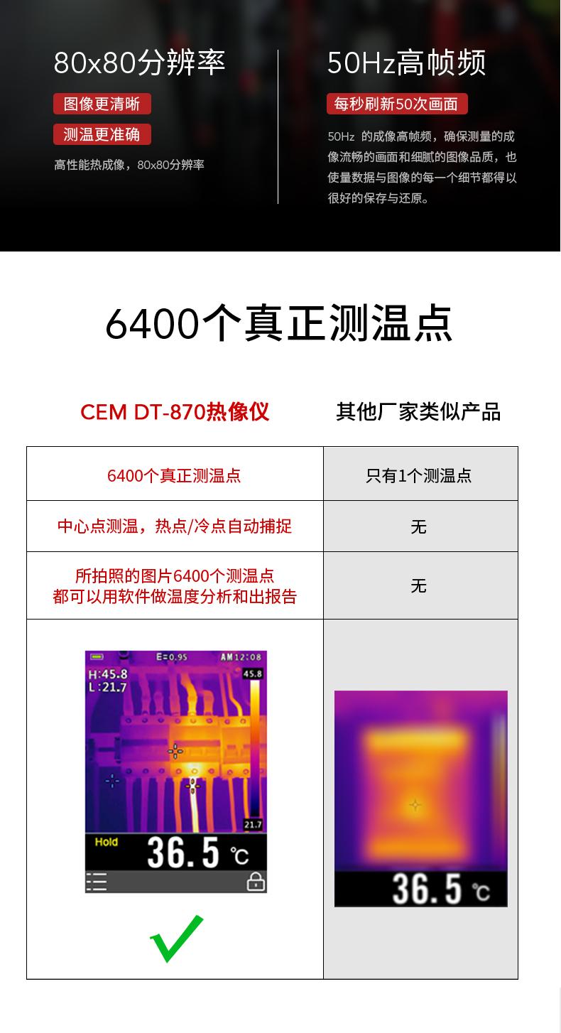 CEM华盛昌DT-870 热象仪便携式地暖检测仪超高清可视化测温热像仪
