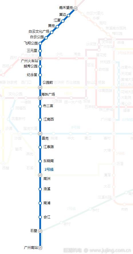广州地铁2号线首尾班车时间 途经站点