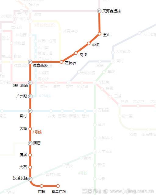 广州地铁3号线途经站点 全清路线图