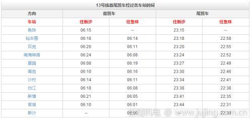 广州地铁13号线途径站点 首尾班车运营时间