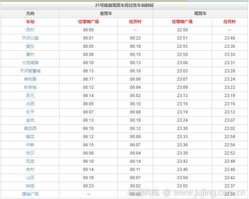 广州地铁21号线途径站点 全程路线图