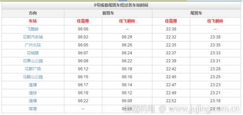 广州地铁9号线运营时间表 附送全程线路图